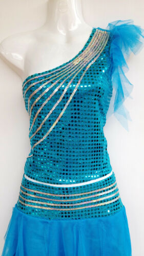 Mädchen Damen Cheerleader-Kostüm//Kleid Fasching//Cosplay Türkisblau Gr.98-188