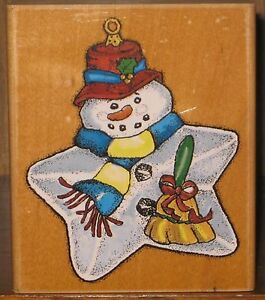 Inkadinkado-Rubber-Stamp-Star-Snowman-Christmas-Ornament-Wood-Mount-3-5-034-x-4-034