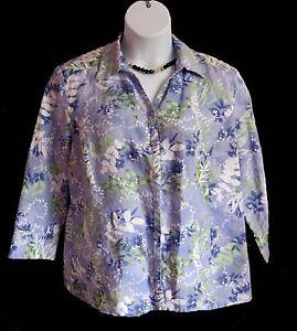 Floral-LINEN-Blouse-Size-18-XL-MISSES-SHIRT-JM-Collection-Blue-Casual-Seamed