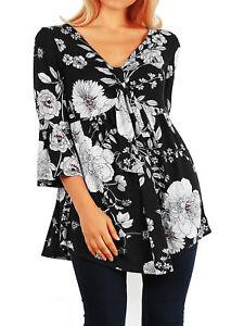 HL-Funfash-Women-Plus-Size-Empire-Waist-Black-White-Floral-Top-Shirt-Made-USA