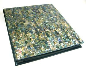 Exquisite Genuine Abalone Paua Shell 8x10 Photo Album Slip Insert