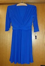 Woman's sz PL - Royal Blue DRESS - Chaps - Sexy V-plunge, drape, 3/4 sleeve- NWT