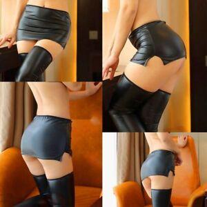 Sexy-Women-039-s-Lingerie-Wet-Look-Shiny-Micro-Mini-Skirt-Night-Club-Dance