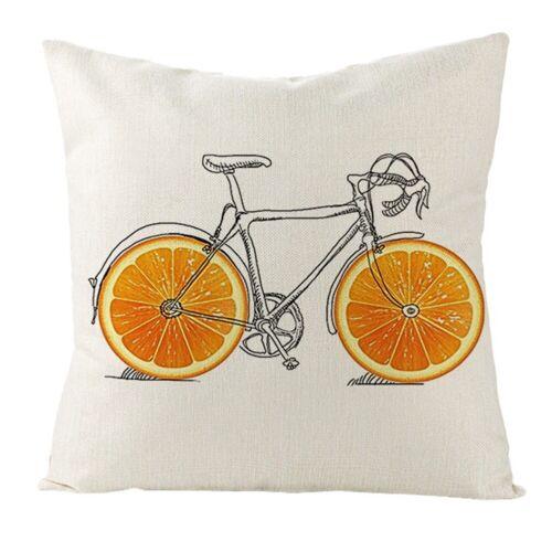 """18/"""" Retro Bicycle Pillowcase Sofa Throw Waist Cushion Cover Flax Home Sofa Decor"""