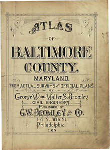 BROMLEY BALTIMORE COUNTY 1915 G.W GILMAN COUNTRY SCHOOL ATLAS MAP MARYLAND