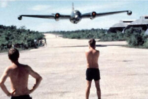 A-B-57-bomber-making-a-low-pass-over-US-base-in-Vietnam-War-Photo-4x6-inch-N