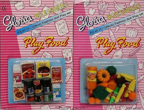 2SET Gloria Accessories Barbie Size Dollhouse Fridge Food Fruits Vegetables Play