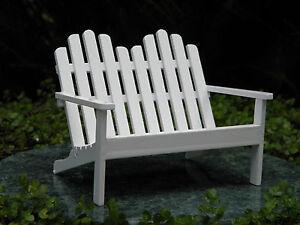 Sensational Details About Miniature Dollhouse Fairy Garden Furniture White Wood Adirondack Double Chair Bralicious Painted Fabric Chair Ideas Braliciousco