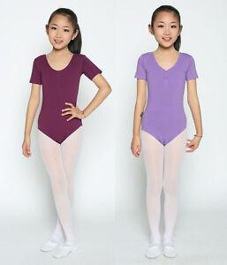 New kids girl/'s purple pink blue cotton velvet long sleeved dance ballet leotard