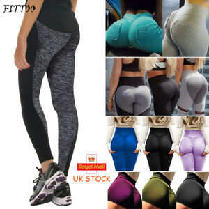 Womens-Ladies-Yoga-Pants-Fitness-Leggings-Gym-Sports-Trousers-Workout-Wear-Black