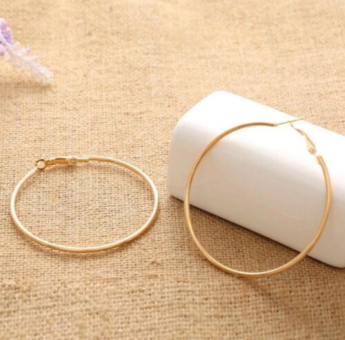 High Quality Huge 14K Yellow Gold Filled 925 Sterling Silver Hoops Earrings 50mm