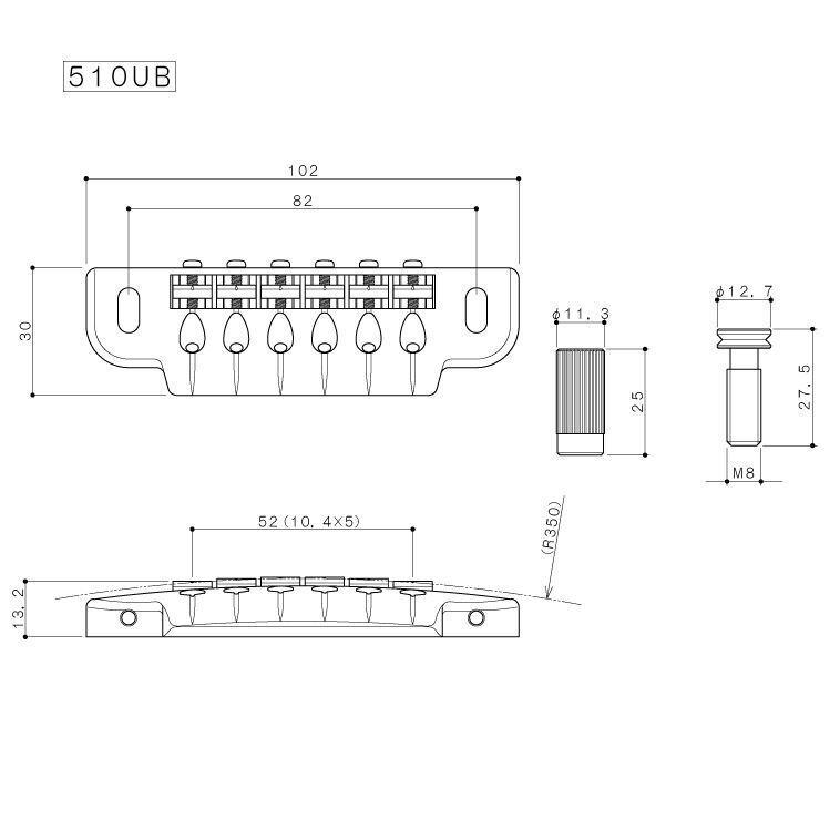 GOTOH 510UB 510UB 510UB 510 Guitarra envolvente puente Y Cordal envolver Cosmo Negro 81b35f