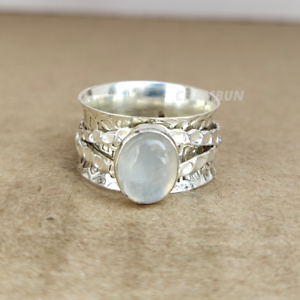Moonstone-925-Sterling-Silver-Spinner-Meditation-Statement-Ring-Size-5-5-A12