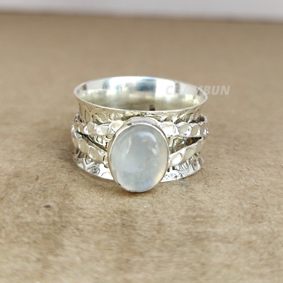 Moonstone Ring Solid 925 Sterling Silver Spinner Ring Meditation Ring Jewelry l1