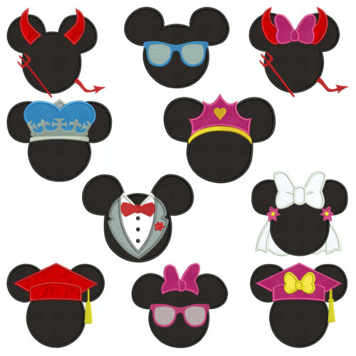 Mickey /& Minnie MIXED SET 1 Machine Applique Embroidery Patterns 10 4 sizes