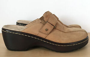 SOFTSPOTS-Womens-Tan-Brown-Leather-Wedge-Slip-On-Heels-Clogs-Shoes-Sz-6-5-M