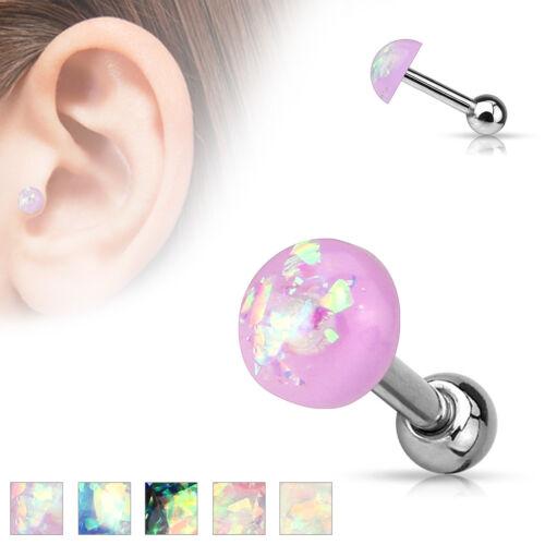 Opal Glitter Dome Bar Helix Cartilage Upper Ear Piercing Stud Top Earring