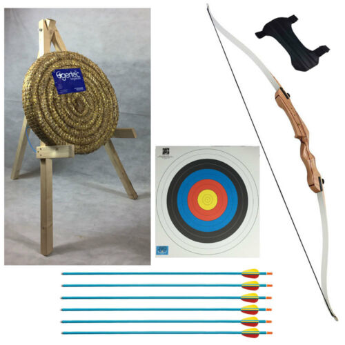 "Stand /& Arrows Childs Archery 58/"" Recurve Bow Starter Package With Straw Target"