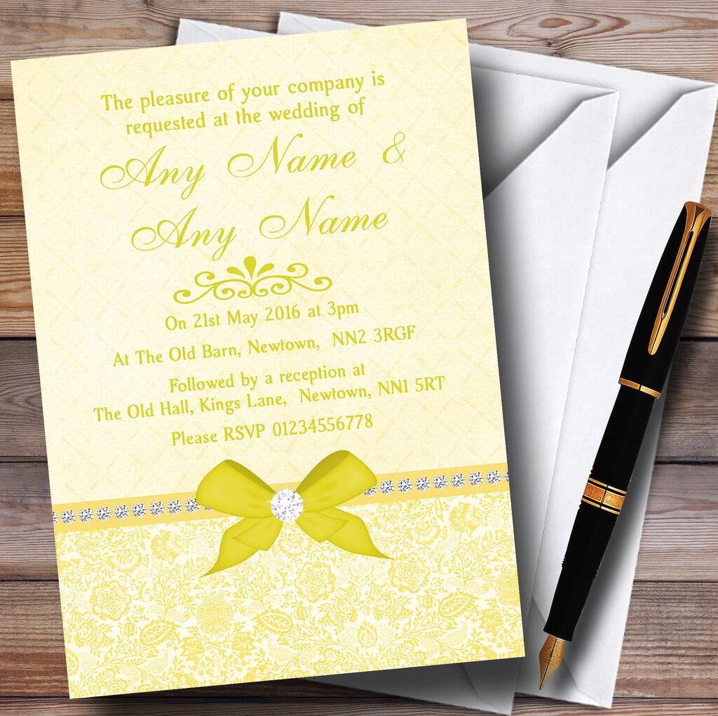 Pretty Floral Vintage Bow & Diamante Gelb Personalised Wedding Invitations