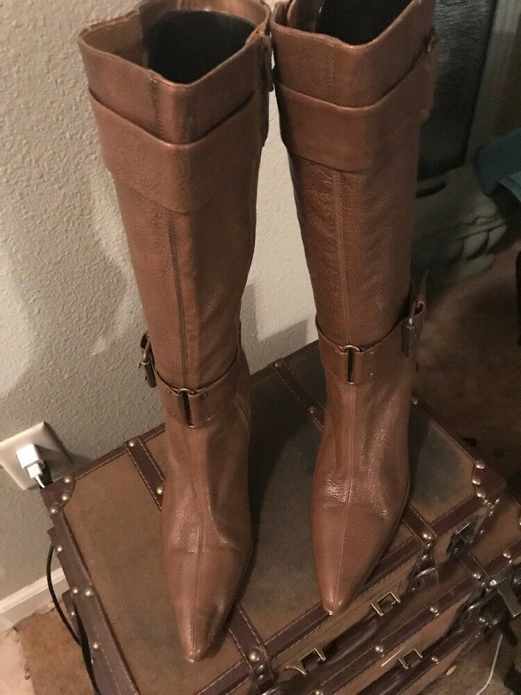 Seychelles Brown Leather Buckle Stiletto Heel Calf Boots Women's Size 8.5