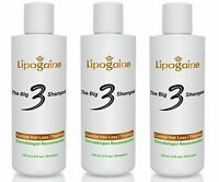 Lipogaine Big 3 Premium Hair Loss Regrowth Shampoo For Men & Women - 3 Bottles