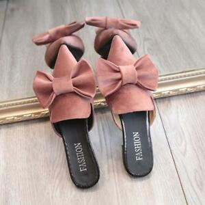 Womens-Velvet-Pointy-Toe-Sweet-Bowknot-Casual-Flats-Stylish-Slippers-Shoes-Mules