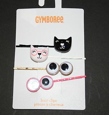 Gymboree Girls Hair Snap Clips kitty//doggy
