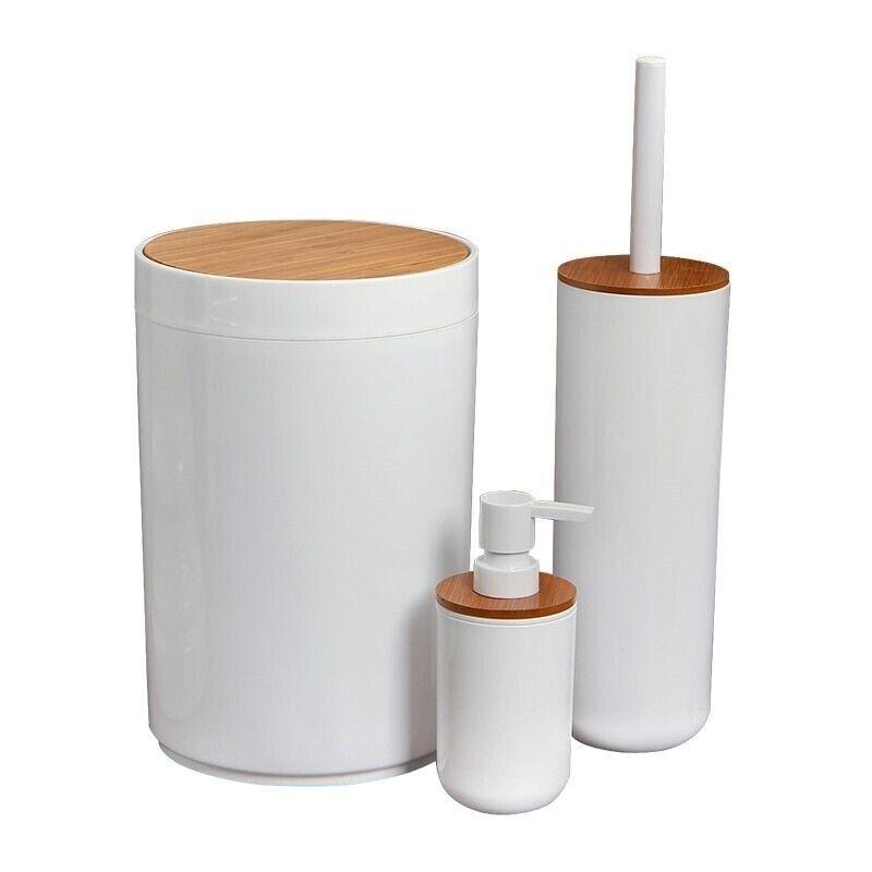Bathroom Brush Set Toilet Cleaner Waste Trash Bin Shower Gel Holder Accessories