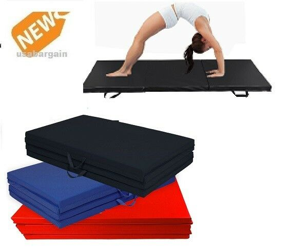 """Details about  /BalanceFrom 2/"""" Thick Tri-Fold Folding Exercise Mat Carrying Handles MMA Sporting"""