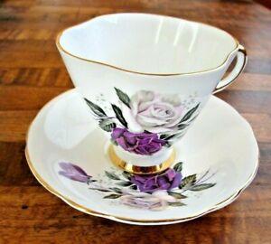 Royal Eton Purple Rose Tea Cup & Saucer Staffordshire Bone China England