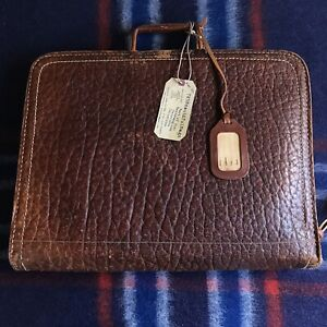 RARE-VINTAGE-1940s-DISTRESSED-PIGSKIN-LEATHER-MACBOOK-PRO-BRIEFCASE-BAG-R-898