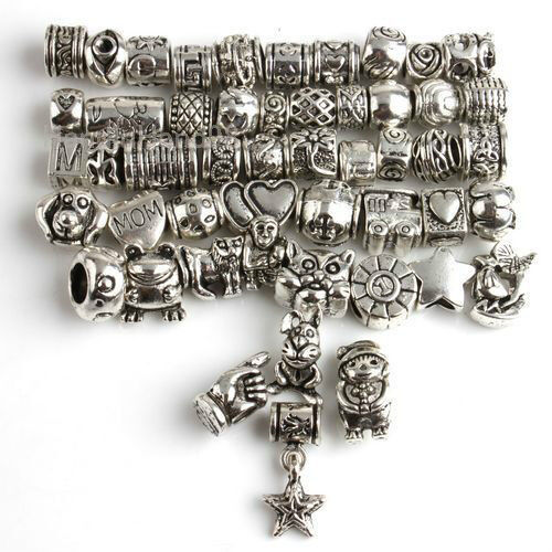 NEW 50Pcs Mixed Lots Tibetan Silver European Bead Fit Charm Bracelet 151315 new