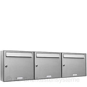 3er 3x1 edelstahl briefkasten anlage f r einbau und aufputz post stehend ebay. Black Bedroom Furniture Sets. Home Design Ideas