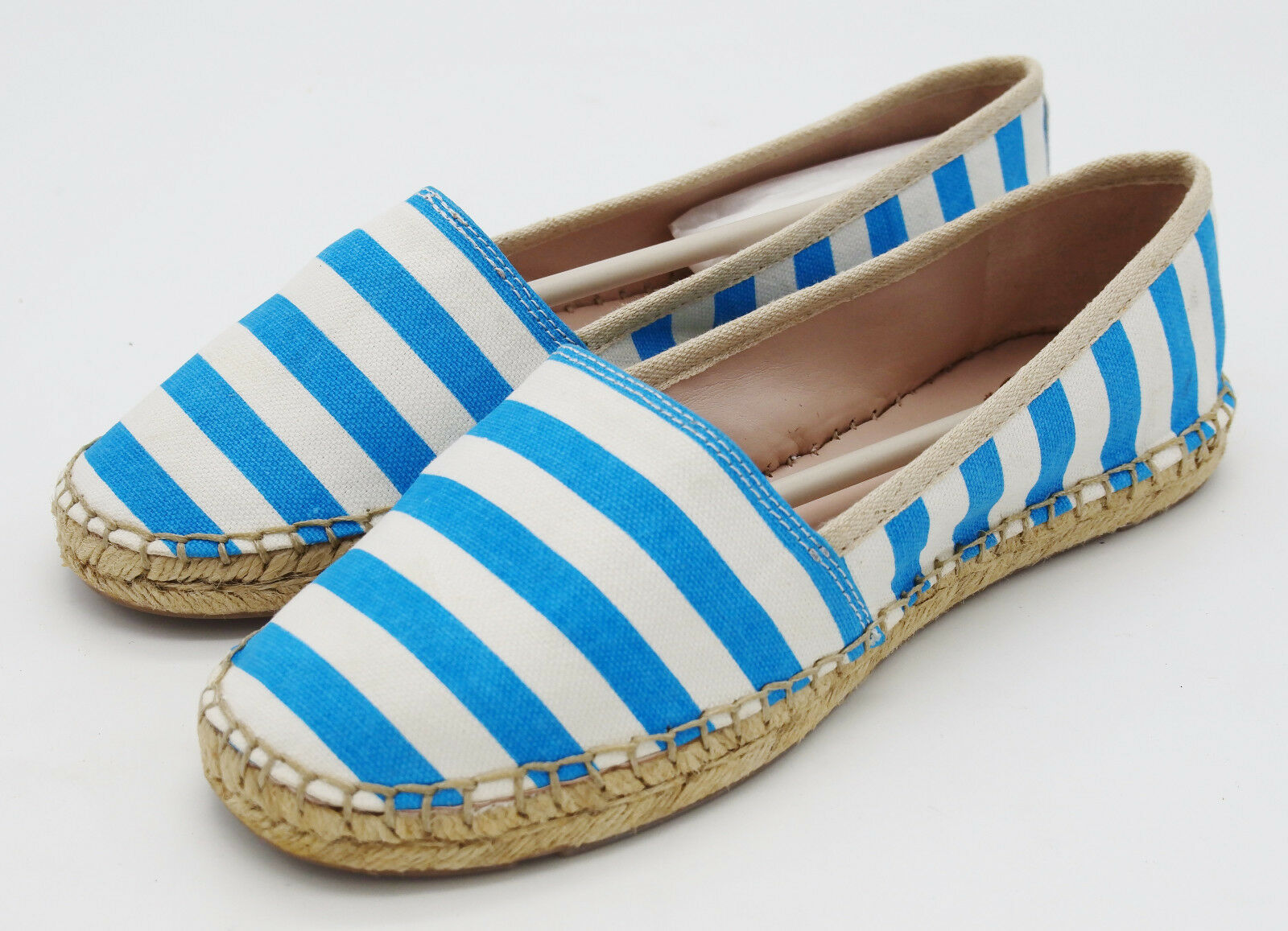 J5026 New Women's Vince Camuto Johnnie Riveria bluee White Espadrille Loafer 7.5M