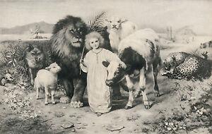 Antique STRUTT Old Christian Art Print Isaiah 11:6 LITTLE CHILD SHALL LEAD THEM