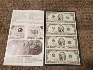 1976-Uncut-Sheet-4-X-2-Crisp-US-2-Dollars-Uncirculated-LEGAL-MONEY-GIFT-BILLS