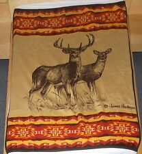 ORION BIEDERLACK USA Throw Blanket Red Deer Southwest Pattern James Hautman