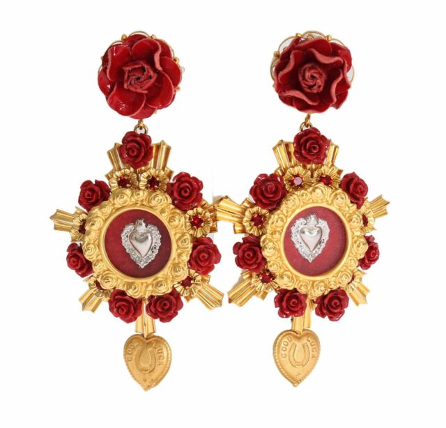 New 1500 Dolce Gabbana Earring Gold Crystal Red Roses Heart Dangling Clip On