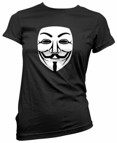 NEW V For Vendetta Guy Fawkes Anonymous Mask Womens Black T-Shirt Girls Hackers