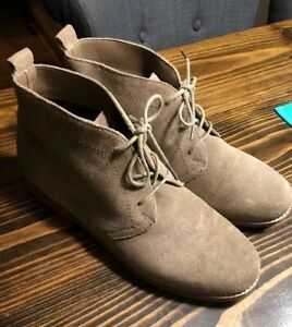 womens white mountain tan suede ankle boot 10m nwob  ebay