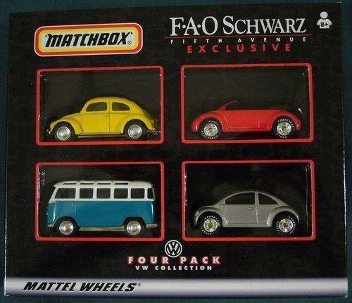 Vintage Matchbox Auto Fao nero Exclusivo Vw cuatro paquete Sin Abrir