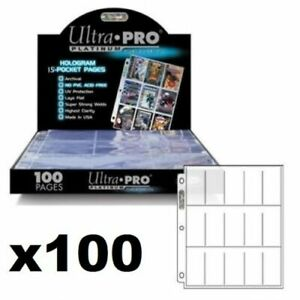 ULTRA-PRO-15-POCKET-PLATINUM-TOBACCO-CIGARETTE-CARDS-SLEEVES-100-PAGES-IN-BOX