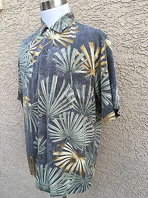 Tommy Bahama Large 100% Silk Multi-Color Stamped Tropical Hawaiian Shirt B48