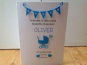 Handmade personalised new baby boy card- grandson, nephew, keepsake card