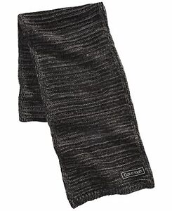 Calvin Klein Mens Scarf Gray One Size Knitted Ribbed Trim Contrast  $55 #121