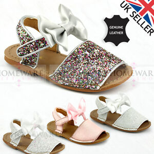 3d1a23c8e082 Image is loading GIRLS-SPANISH-BOW-SANDALS-LEATHER-GLITTER-RAINBOW-WHITE-