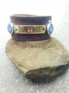 Handmade-unique-034-I-Can-I-Will-034-quote-leather-bracelet-wrap