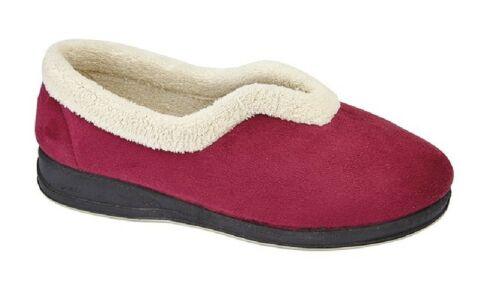 Sleepers OLIVIA Soft Faux Suede Terry Lining V front Slippers Navy Wine