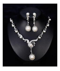 GüNstig Einkaufen Schmuckset Halskette Ohrringe Perlen Imität Strass Hochzeit Braut
