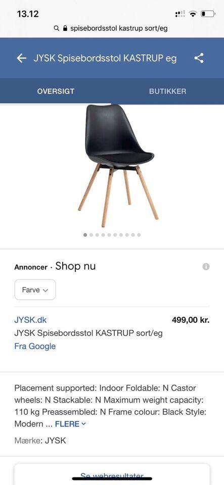 Spisebordsstol, Jysk – dba.dk – Køb og Salg af Nyt og Brugt